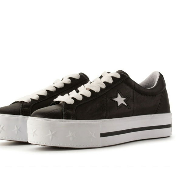 dccf94fb71 NWT Converse All Star Black Leather Platforms NWT